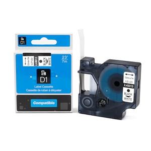 Obrázok DYMO 45013 D1 12mm, kompatibilná páska čierna tlač/biely podklad